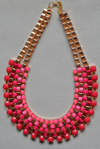 Layers  Collar Necklace Pink