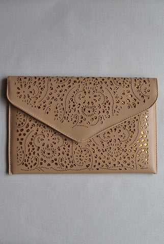 Lasercut Clutch Beige