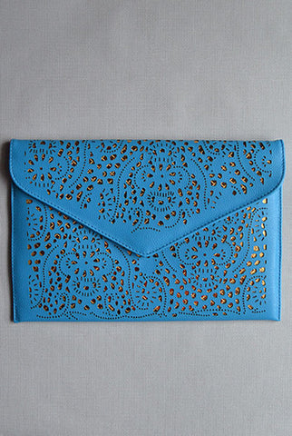 Lasercut  Clutch Sky Blue