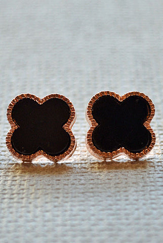 Clover Earrings Black