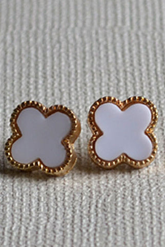 Clover Earrings White
