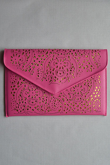 Lasercut Clutch Berry