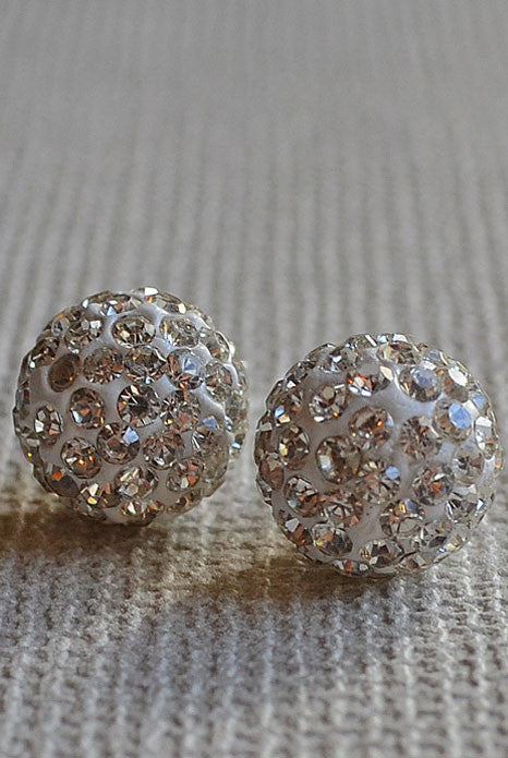 Crystal Ball Earrings Silver