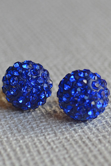 Crystal Ball Earrings Cobalt Blue