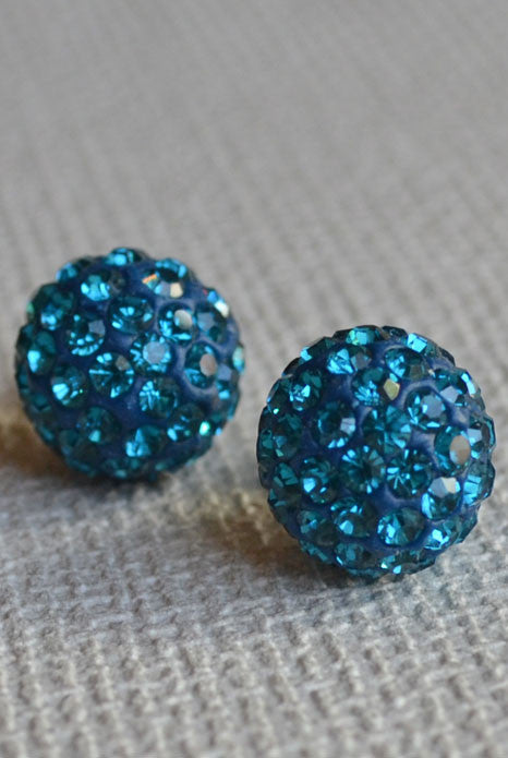 Crystal Ball Earrings Teal