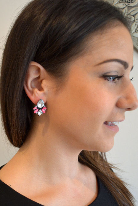 Glitz Cluster Earrings Pink