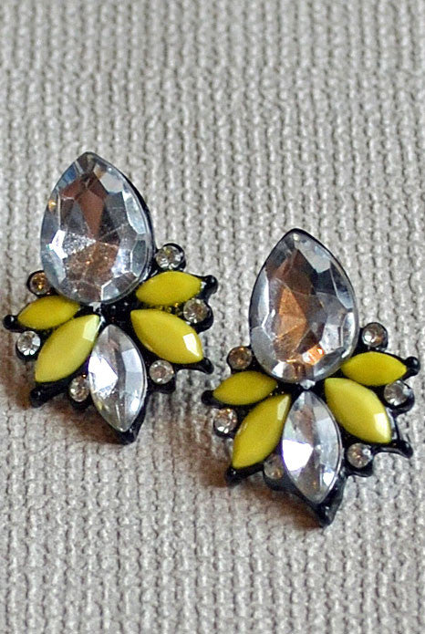 Glitz Cluster Earrings Yellow