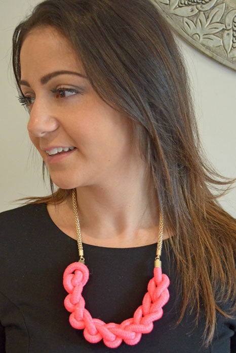 Half Moon Necklace Neon Pink