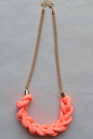 Half Moon Necklace Coral