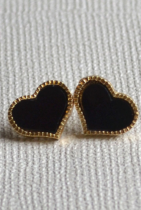 Heart Earrings Black
