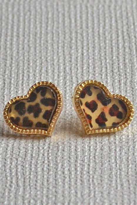 Heart Earrings Leopard