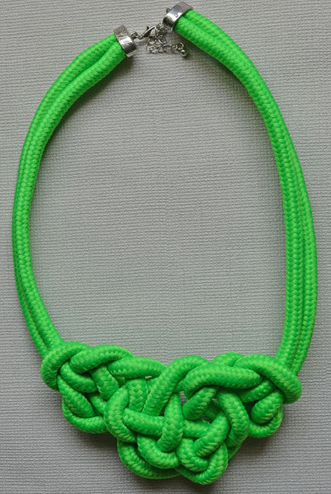 Knot Necklace Neon Green