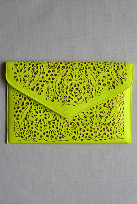 Lasercut Clutch Neon Yellow