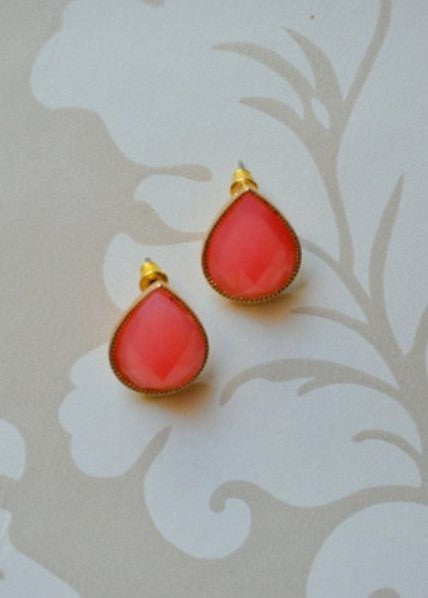 Bella teardrop stud earrings in coral