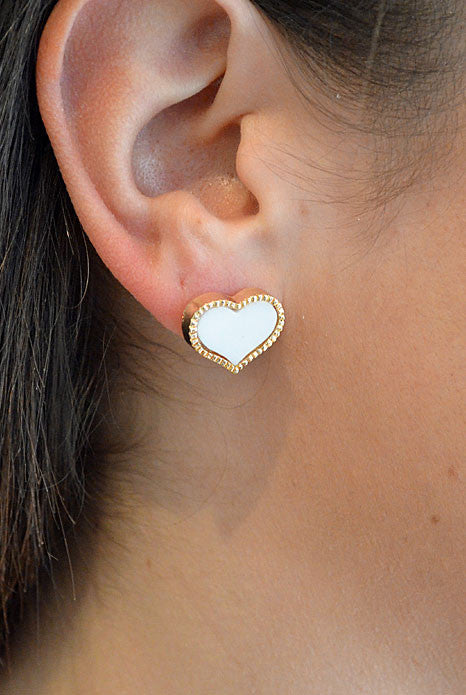 Heart Earrings White