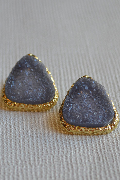 Stone Stud Earrings Black