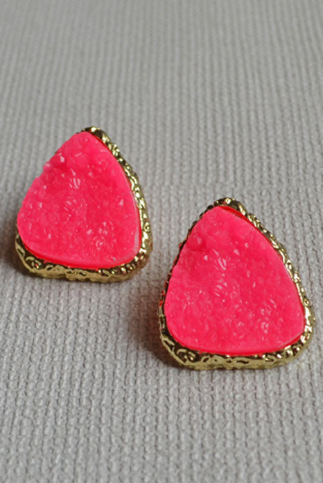 Stone Stud Earrings Pink
