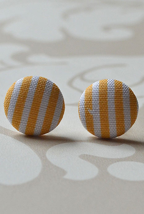 French Riviera Studs Mustard Stripe