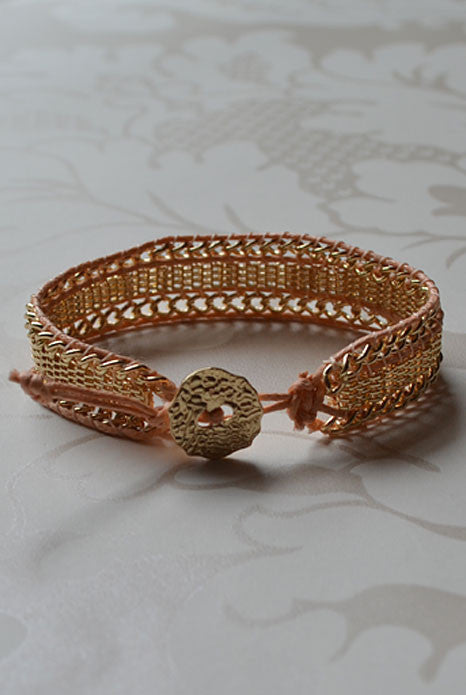 Golden Mesh Bracelet Peach