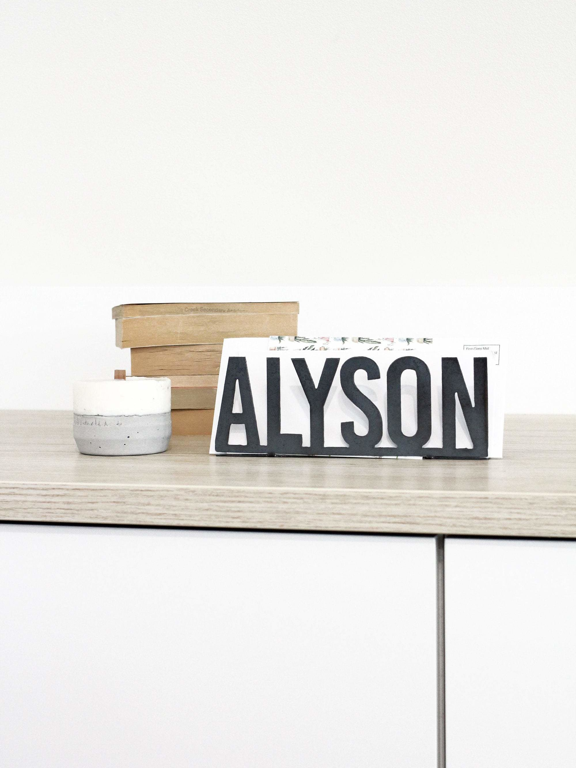 Custom Text Personalized Name Mail Organizer