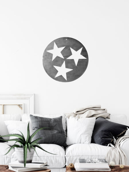Tennessee Tri-Star Solid Design Metal Art - Large