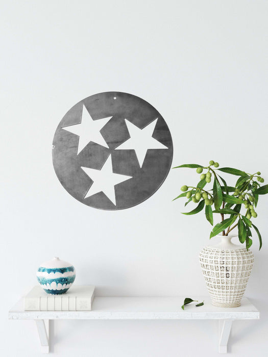 Tennessee Tri-Star Solid Design Metal Art - Small