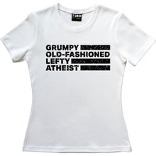 Load image into Gallery viewer, Grumpy Old-Fashioned Lefty Atheist Women's T-Shirt