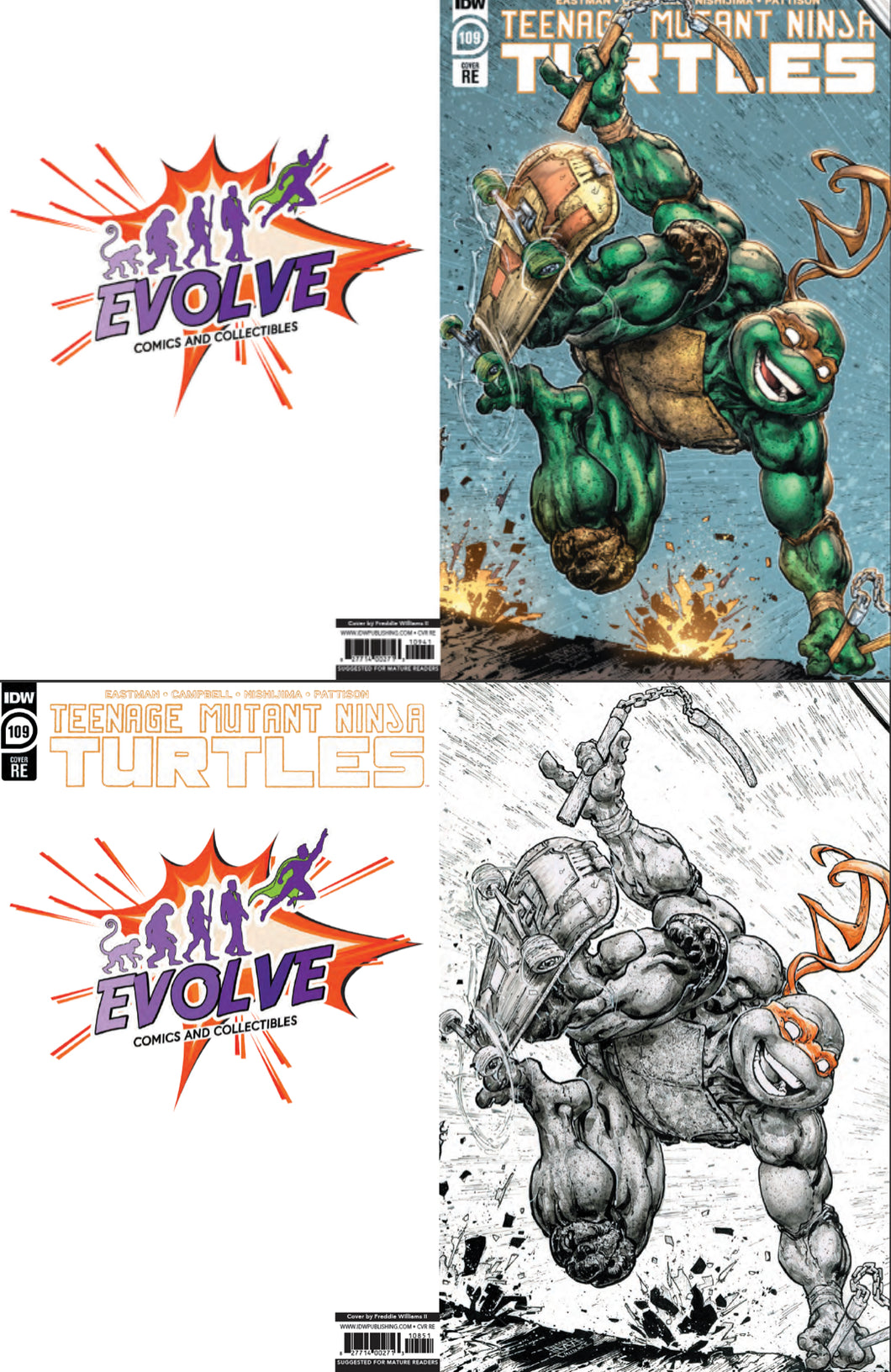 Teenage Mutant Ninja Turtles 109 Evolve Comics And Collectibles Exclusive Set