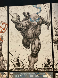 TMNT 108-112 Evolve Comics and Collectibles Exclusive Ink Wash and Color Connecting Cover