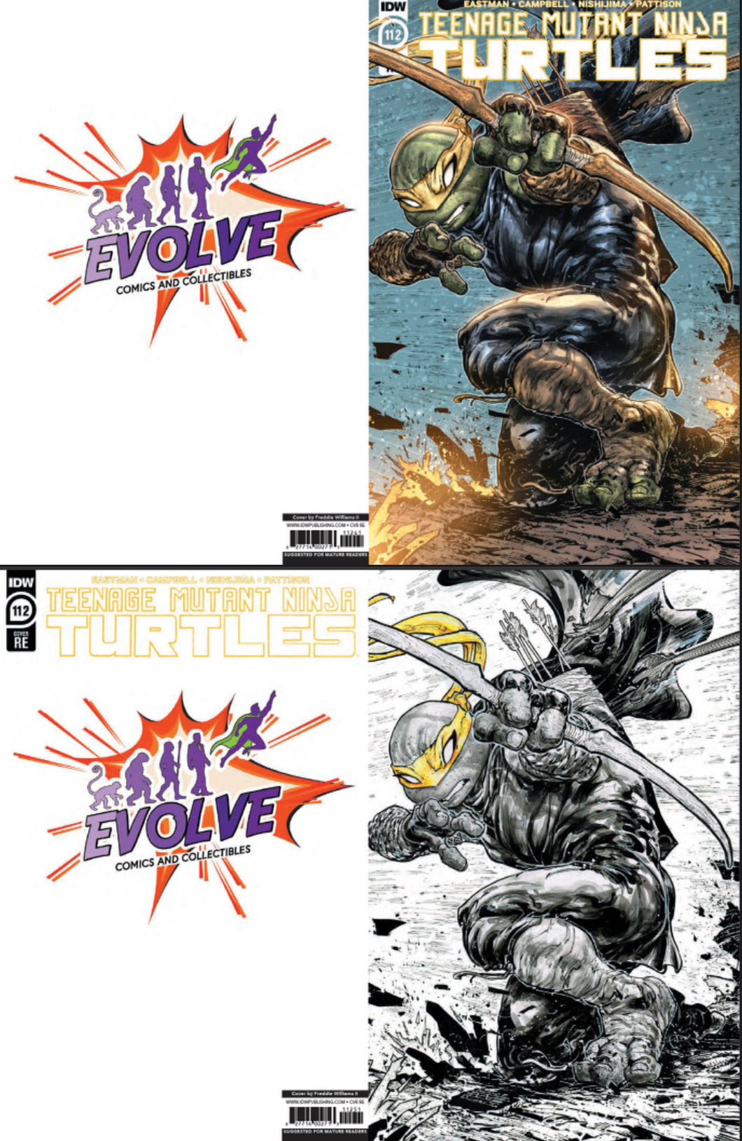 TMNT 112 Evolve Comics and Collectibles Variant Set Freddie Williams