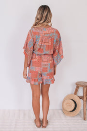 Bergamot Playsuit - Coral Patchwork