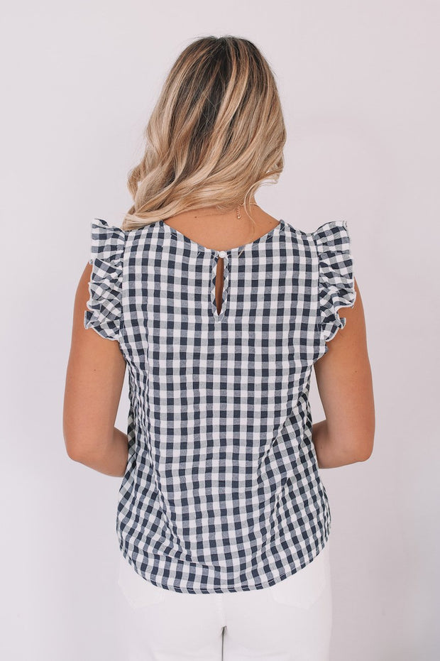 Cassie Top - Black Gingham