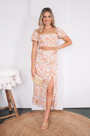 Blooma Top - Peach Print