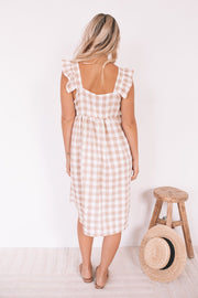 Elka Dress - Beige Gingham
