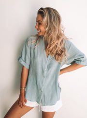 Fraise Top - Faded Teal
