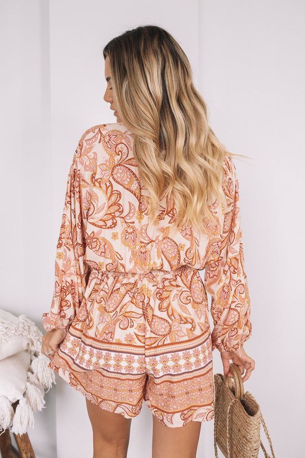 Herah Playsuit - Tan Print