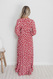 Apala Dress - Burgundy Print-Dresses-Womens Clothing-ESTHER & CO.
