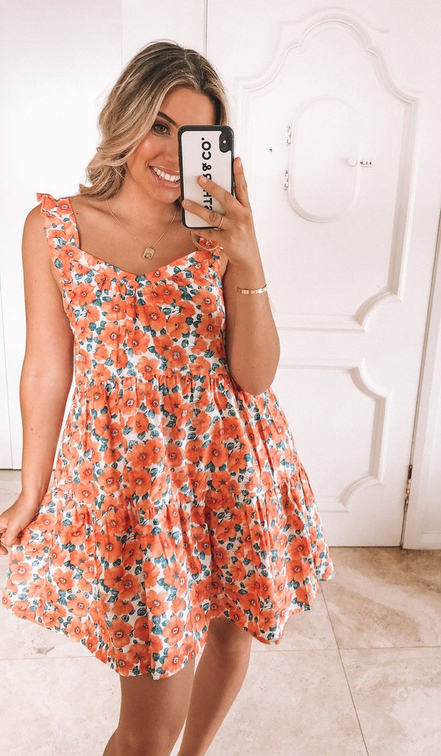 Carolina Dress - Orange Print-Dresses-Womens Clothing-ESTHER & CO.