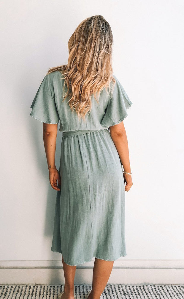 Chatter Dress - Sage-Dresses-Womens Clothing-ESTHER & CO.