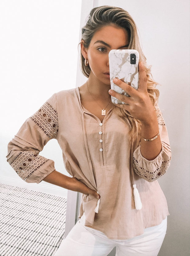 Doctrine Blouse - Beige-Tops-Womens Clothing-ESTHER & CO.
