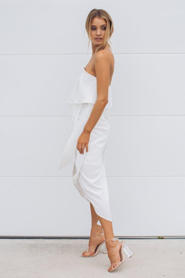 Fleur Strapless Dress - White-Dresses-Esther Luxe-ESTHER & CO.