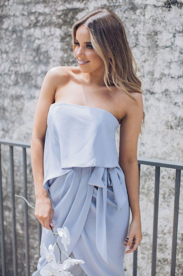 Fleur Strapless Dress - Silver-Dresses-Esther Luxe-ESTHER & CO.