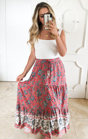 Kenna Skirt - Red Print-Skirts-Womens Clothing-ESTHER & CO.