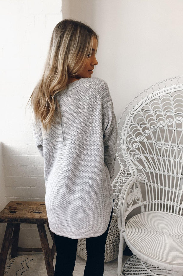 Mandy Jumper - Grey-Tops-Womens Clothing-ESTHER & CO.