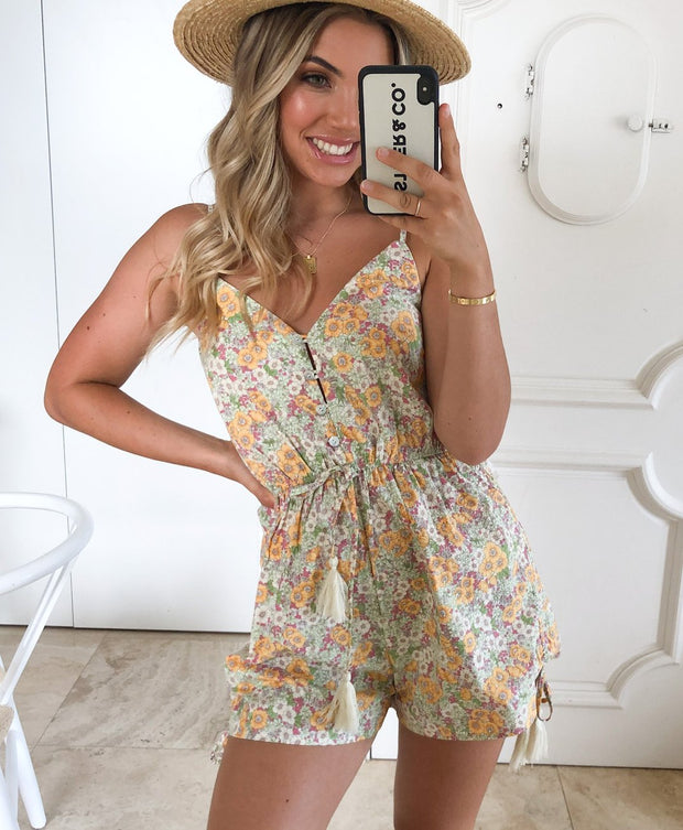 Miley Playsuit - Floral Print-Playsuits-Womens Clothing-ESTHER & CO.
