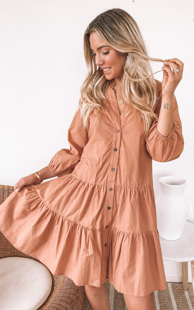 Picnic Dress - Terracotta-Dresses-Womens Clothing-ESTHER & CO.
