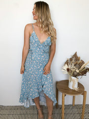 Planter Dress - Teal Print-Dresses-Womens Clothing-ESTHER & CO.