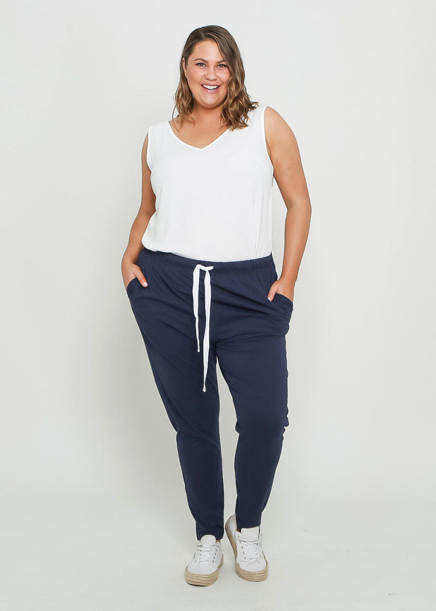 Preorder Tana Track Pants - Navy-Pants-Womens Clothing-ESTHER & CO.