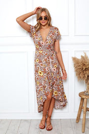 Tangerine Dress - Brown Print