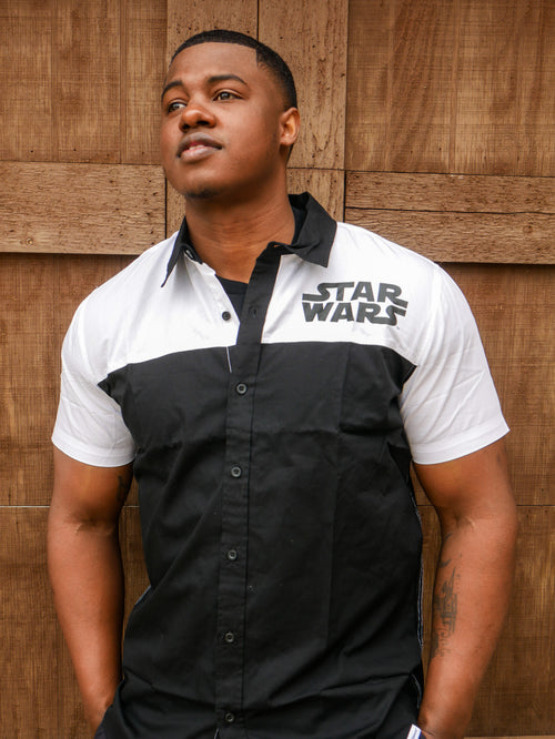 Our Universe Star Wars Men's Black and White Button Up